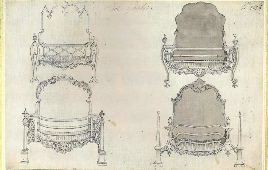 Chippendale drawing of fire grates