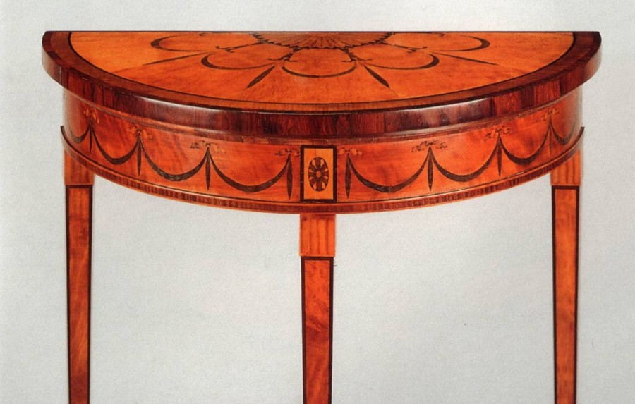 Chippendale pier table inlaid wih marquetry