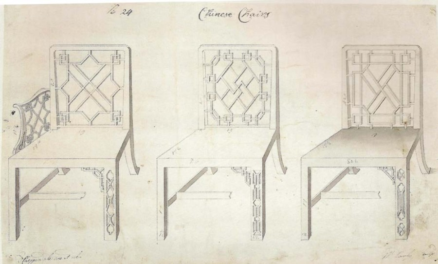 Thomas Chippendale: Drawing for Three Chinese Chairs, 1753.
