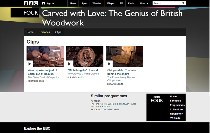 Carved with Love - The Genius of British Woodwork BBC website.