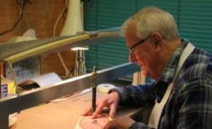 Jack Metcalfe, Marqueteur - currently working on a replica of the circular dressing room pier table originally made for Harewood House and now in the Chippendale Society collection.