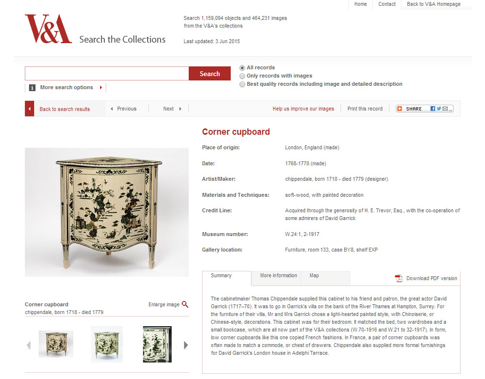 Image of entry from V&A Chippendale collection online.