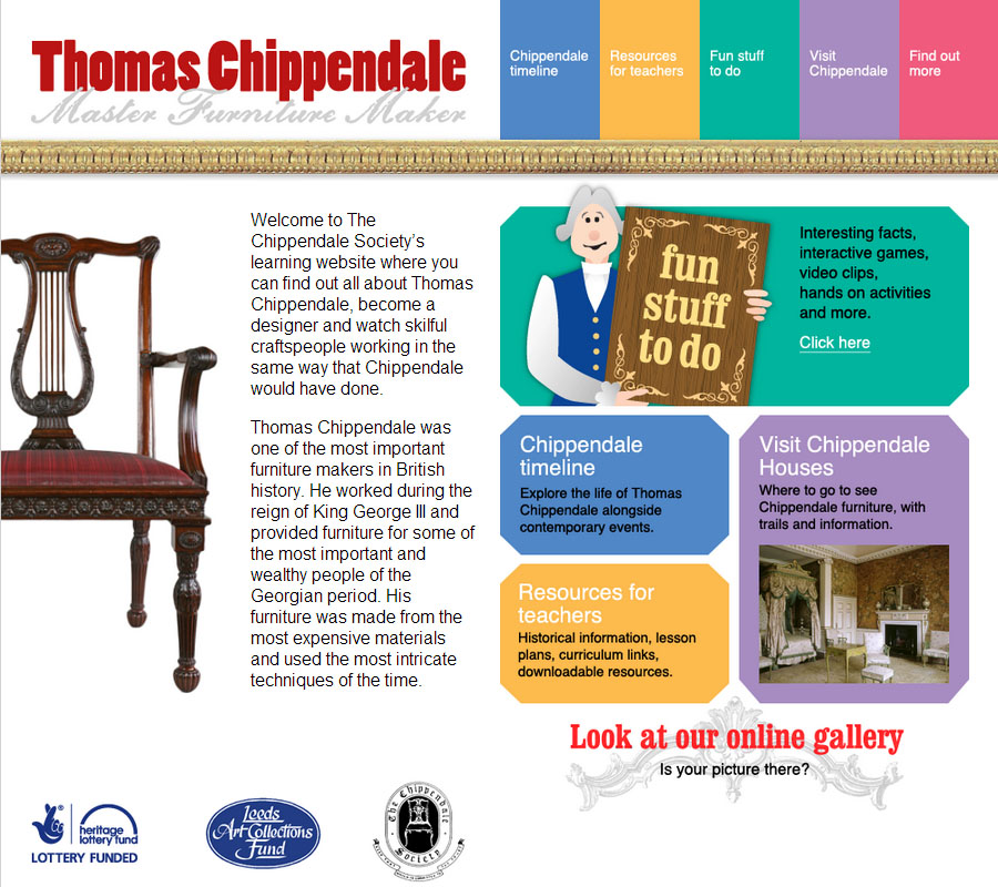 Home page of the  chippendaleactivities.org website.